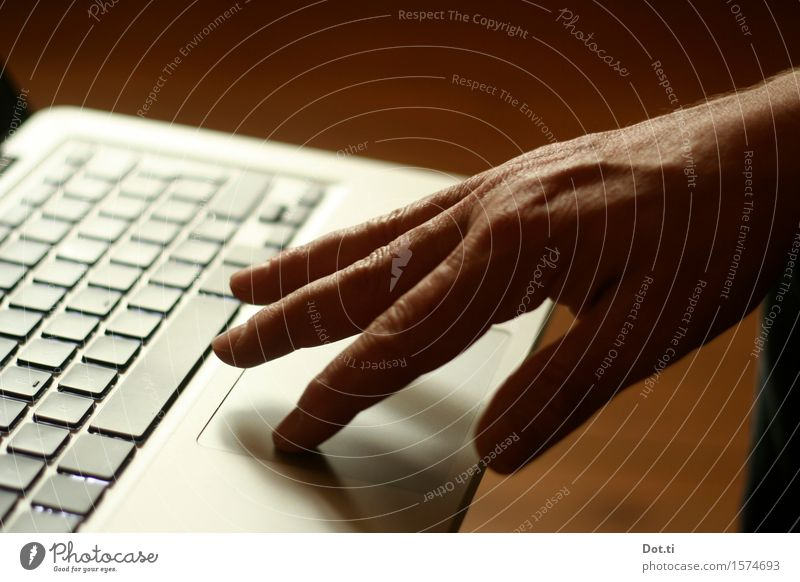 Hand Work and employment Masculine Technology Telecommunications Fingers Touch Mobility Notebook Keyboard In transit Typing Serve Touchpad