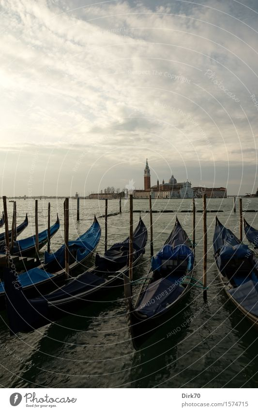 Gondolas in front of San Giorgio Maggiore Vacation & Travel Tourism Sightseeing City trip Water Clouds Spring Beautiful weather Bay Ocean Adriatic Sea