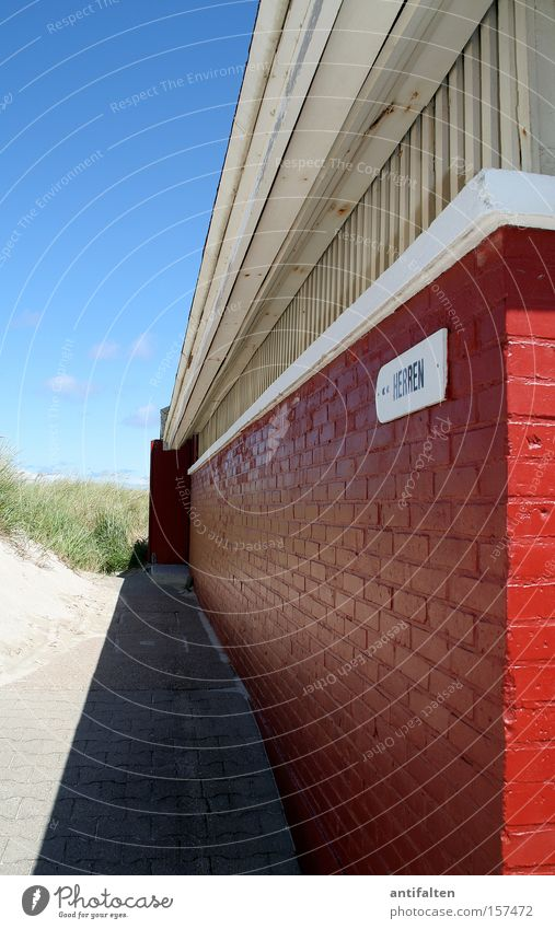 Dune WC Norderney Sand Sky Blue Toilet Gentleman Shadow Summer Red White Wall (barrier) Entrance Coast Obscure