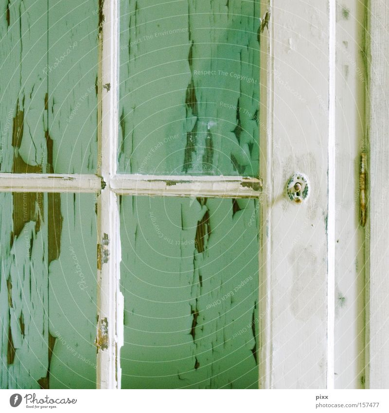 transparency Window Wood Flake off Decline Old Wall (building) Tracks Time Past Arrangement Turquoise Mint green Division Redecorate Craft (trade) Detail
