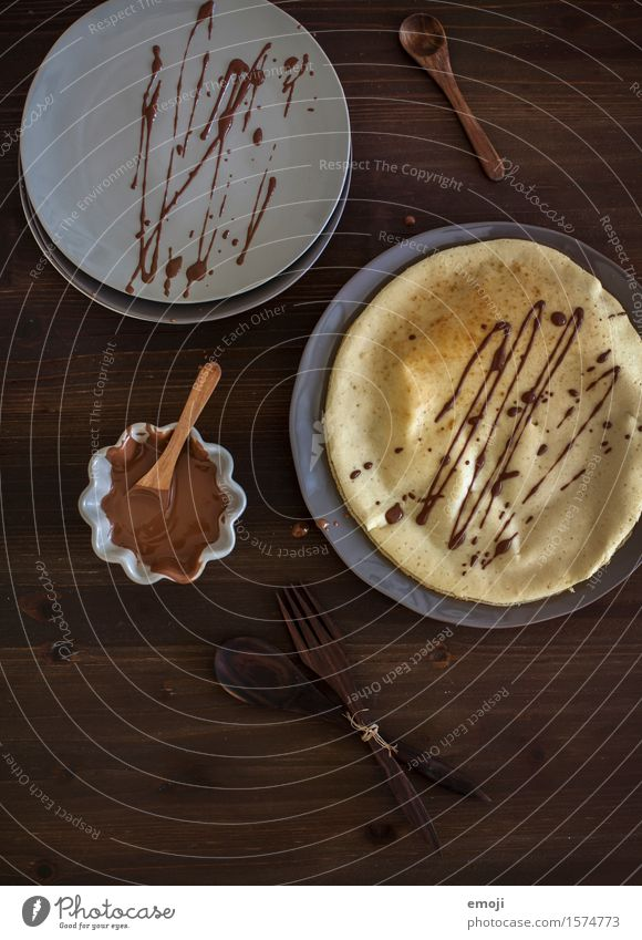 chocolate Dessert Candy Chocolate Crêpe Nutrition Crockery Delicious Sweet Colour photo Subdued colour Interior shot Deserted Day Low-key