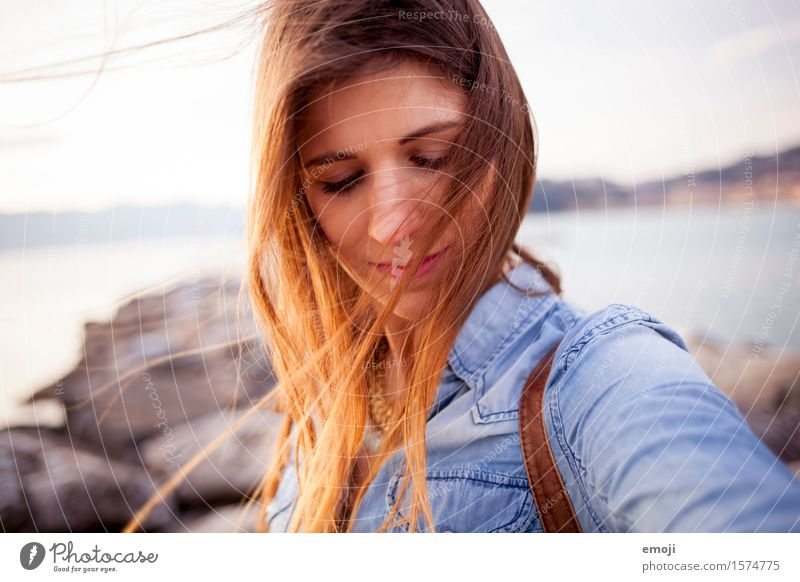 Human being Youth (Young adults) Beautiful Young woman 18 - 30 years Adults Feminine Hair and hairstyles Head Wind Brunette Vacation photo