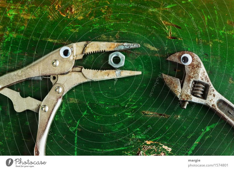 Give me some! Pliers and a wrench with eyes on an old green table. With a nut in the beak of the pliers Nutrition Eating Work and employment Craftsperson