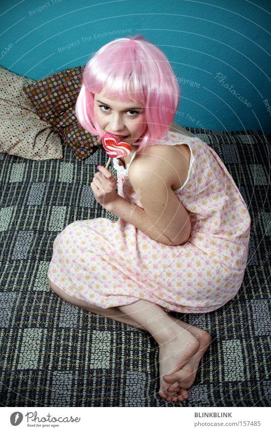 lollipop #1 Pink Girl Sweet Childlike Wig Lollipop Heart Cushion Night dress Feminine Barefoot Looking Turquoise Trashy Candy Woman Carnival Nutrition