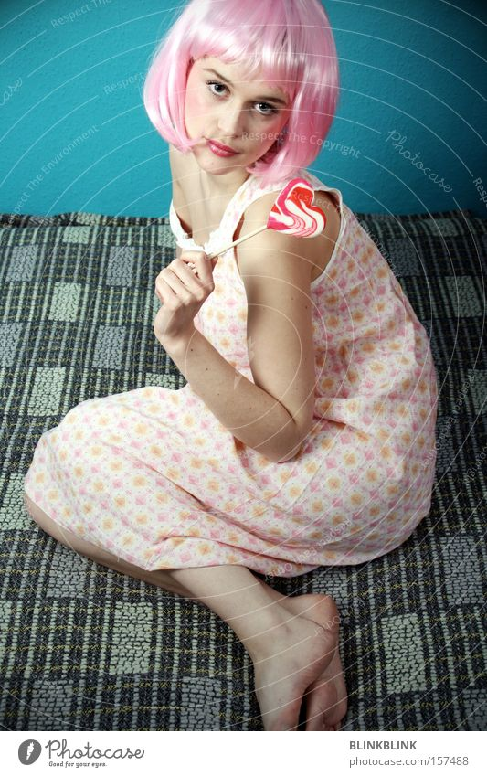 Feminine Young woman Pink Sweet Carnival Candy Blanket Barefoot Sugar Bedroom Wig Lollipop Hair and hairstyles Night dress
