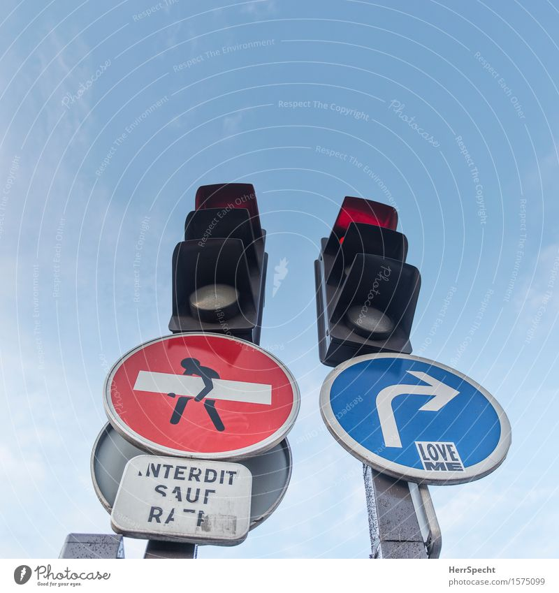 sign traffic Paris Downtown Traffic infrastructure Traffic light Road sign Funny Round Town Blue Red Love Street art Joist Lift Carrying Arrow Turn off Bans