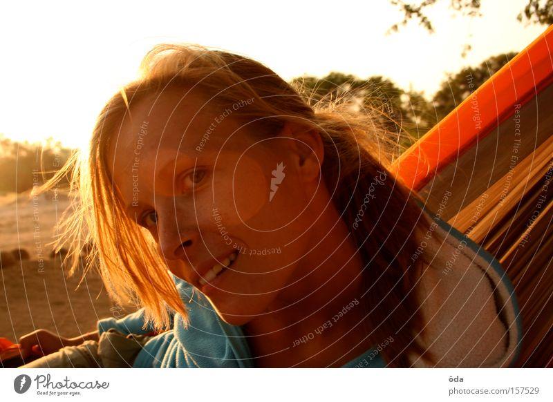 mrs sunshine Woman Face Sun Back-light Looking Curiosity Laughter Sunset Blonde Hammock Orange Hair and hairstyles
