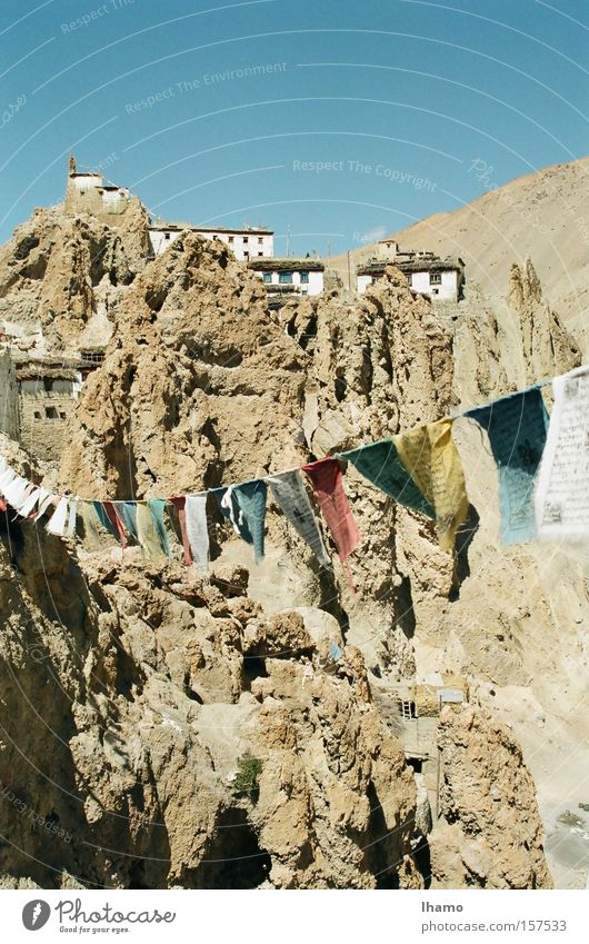 interconnected India Buddhism Prayer flags Remote Mountain Sincere Dusty To go for a walk Wonderful Spiti Valley thankshar Home Stay Colour
