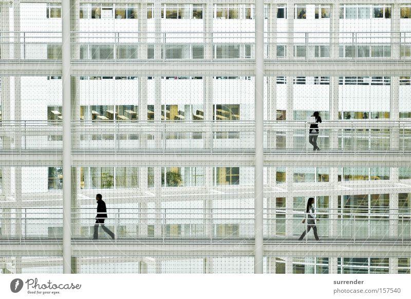 OPPOSITE White Human being Silhouette Future Converse Walking Level Story Column Window Grating Modern