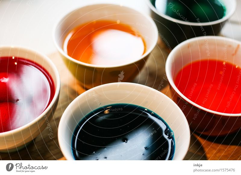 Easter egg colour Lifestyle Leisure and hobbies Handicraft Dyeing Colour pot Bowl Decoration Multicoloured Anticipation Creativity Tradition dye bath