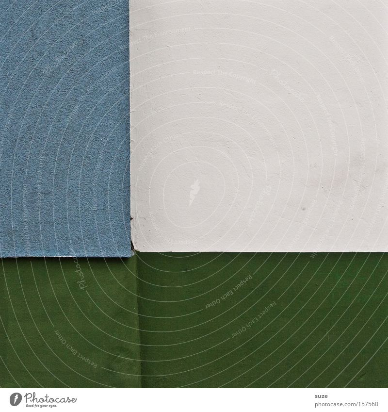quad Style Design Wall (barrier) Wall (building) Authentic Sharp-edged Simple Cold Modern Blue Green White Plaster Geometry Golden section Division Graphic