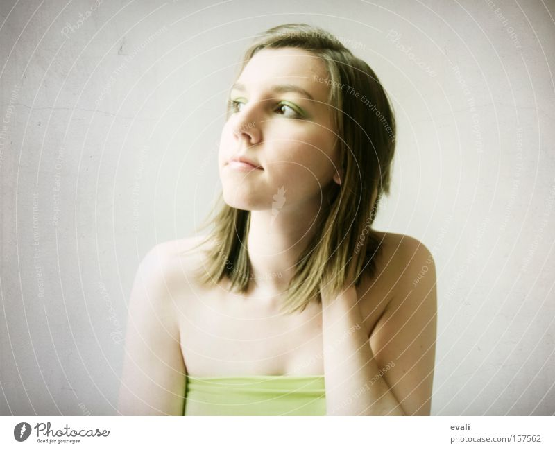I am green today Portrait photograph Woman Face Green Looking ponder