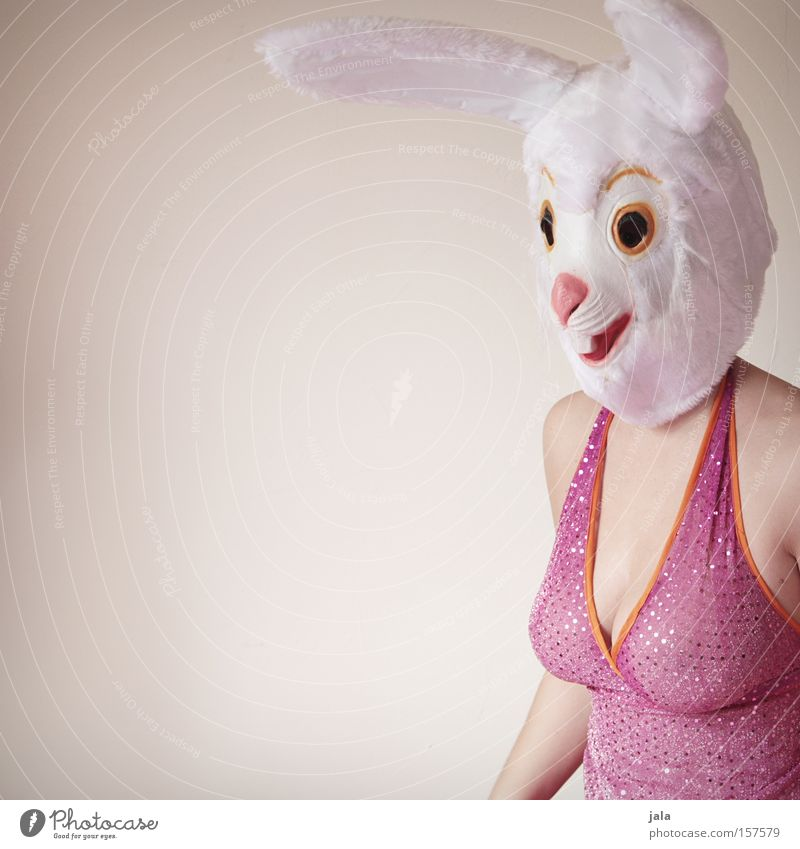 Woman White Joy Animal Funny Pink Ear Easter Mask Carnival Hare & Rabbit & Bunny Costume Dress up Easter Bunny Generous Human being