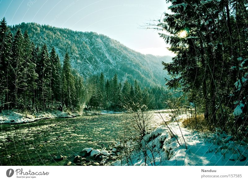 thaw Mountain Spring Winter Bavaria Austria Border area Nature River Brook Snow Cold Light Idyll Clarity Frost Fresh Peace Peaceful