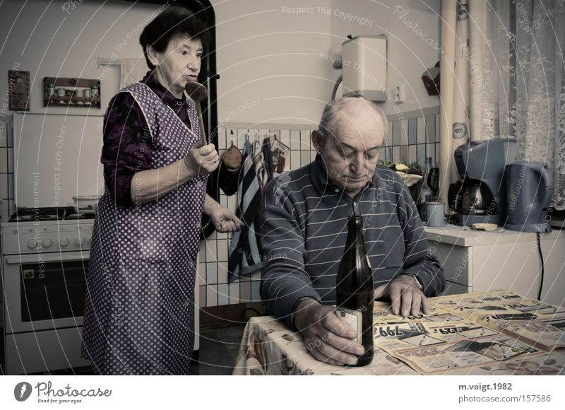 Human being Old Emotions Senior citizen Couple Together Alcoholic drinks Authentic Retro Drinking Kitchen Beer Anger Grandmother Argument Grandfather