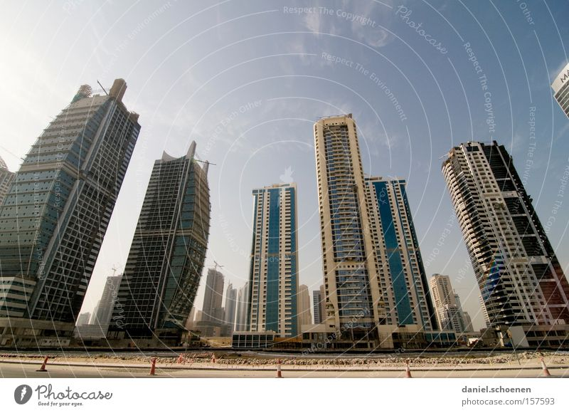 Metropolis 7 Dubai Town Skyline High-rise Movement Transport Motor vehicle Street Living or residing Flat (apartment) Arabia Growth Traffic infrastructure
