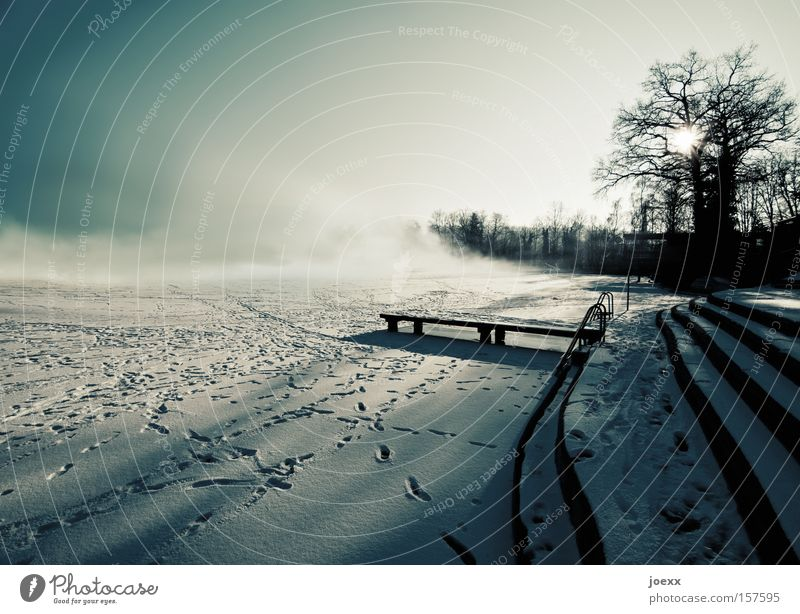 change of mood Fear Ground fog Ice Frozen surface Cold Landscape Light Fog Shadow Lake Sun Footbridge Winter Clouds Snow