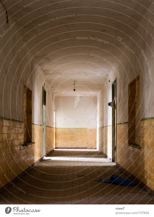 hallway Hallway Corridor Light Planning Tile Plaster Door Doorframe Old Loneliness Going Forget Light (Natural Phenomenon) Military building Room Location