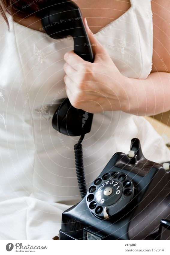 Woman To talk Wait Telephone Bride To call someone (telephone) Wedding dress Dress Telecommunications Rotary dial