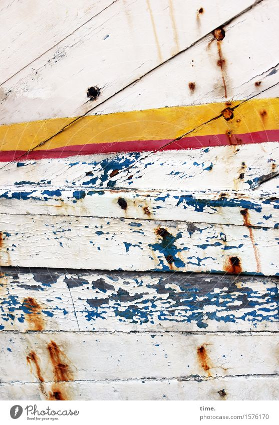 paint damage Art Navigation Fishing boat Watercraft Plank Spar varnish Wreck Colour Varnish Wood Rust Brash Hideous Historic Broken Maritime Trashy Gloomy