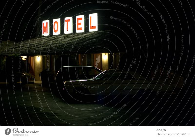 stop Lifestyle Vacation & Travel Trip Adventure Motel Car Signs and labeling Neon sign Illuminate Sleep Living or residing Simple Cheap Red Black White Calm