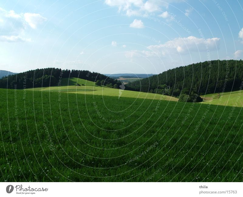 Sky Green Far-off places Meadow Mountain Field Hill Summer's day Sauerland