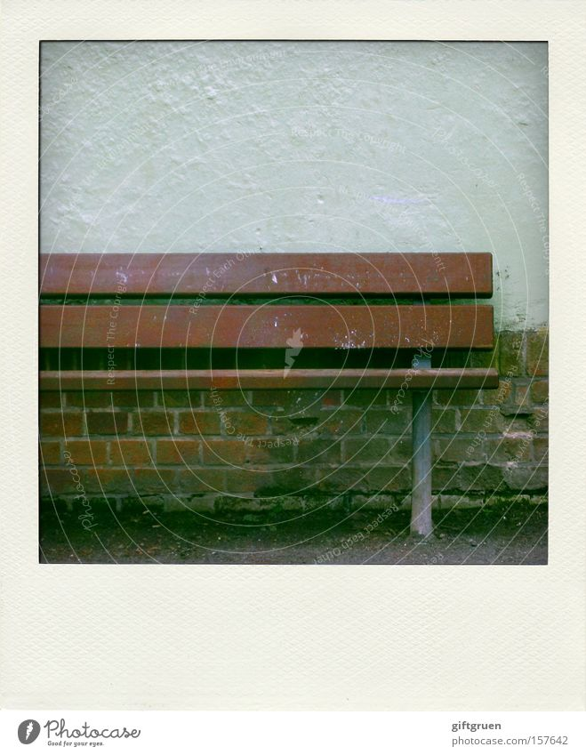 Half thing Seating Calm Empty Loneliness Wall (barrier) Polaroid Detail Furniture Boredom Bench put it on the back burner do half things Derelict