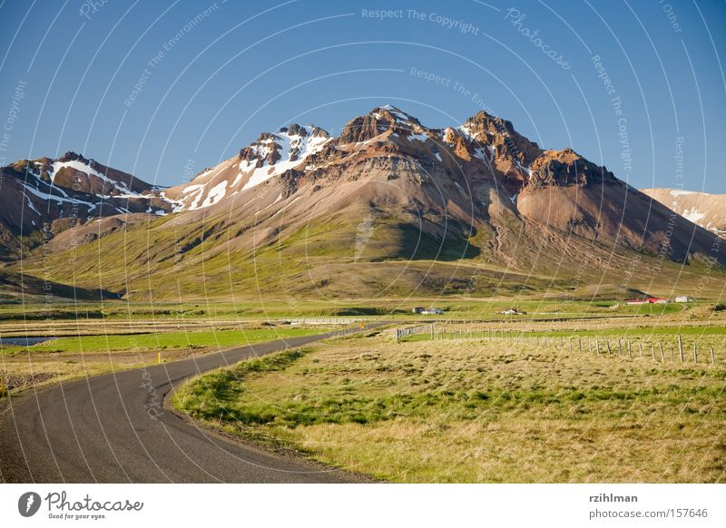 Green Blue Street Mountain Lanes & trails Landscape Iceland Mirror image