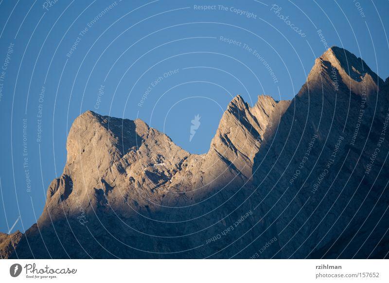Mountain peaks in the morning sun Alb Alps Peak Mountain ridge Mountain range Level Power Sunrise Sunlight Swiss mountains Lamp