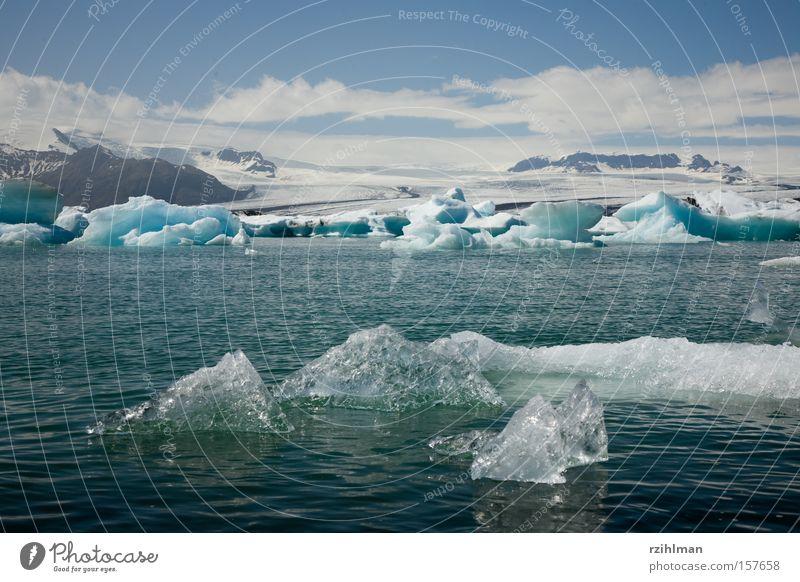 Icebergs in Jökulsarlón Ice crystal Glacier Mountain lake Iceland Jökulsárlón Vatnajökull glacier Climate change Cold eclecticism Jökull Sarlón Block of ice