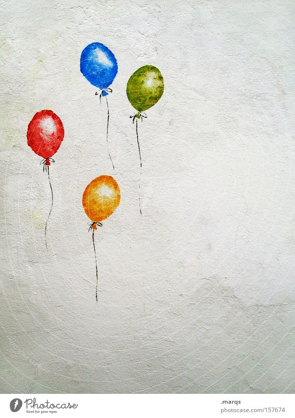 Up, Up and Away Colour photo Multicoloured Copy Space right Well-being Playing Party Feasts & Celebrations Birthday Balloon Graffiti Flying Exceptional Emotions
