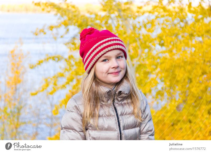 Beautiful girl in red hat Summer Child Girl Infancy 8 - 13 years Autumn Blonde Cute White kid five six 7 eight preschooler fall Caucasian European Expression