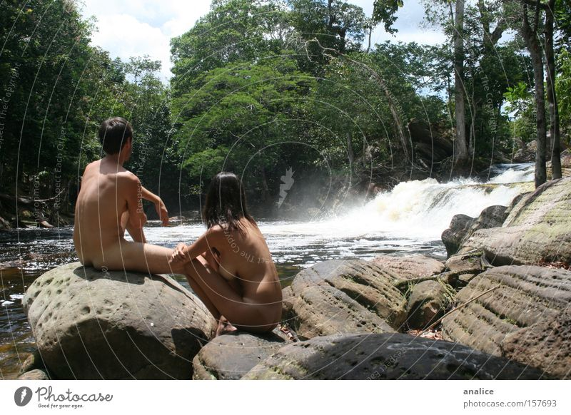 paradise Colour photo Exterior shot Nude photography Day Looking away Harmonious Well-being Relaxation Freedom Human being Couple Body 2 Nature Water Plant Tree