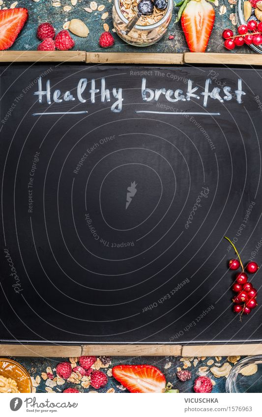 Inscription Healthy breakfast on empty black board Food Fruit Grain Dessert Jam Nutrition Breakfast Organic produce Vegetarian diet Diet Glass Spoon Design