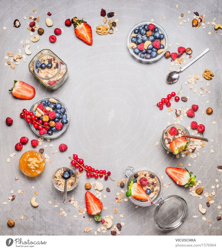 Healthy breakfast with fresh berries, muesli and nuts Food Fruit Grain Nutrition Breakfast Organic produce Vegetarian diet Diet Bowl Glass Spoon Style Design