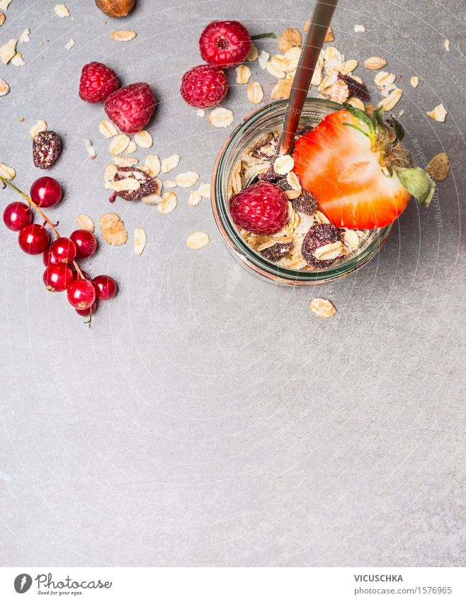 Muesli with dried fruits, nuts and fresh berries Food Fruit Grain Dessert Nutrition Breakfast Organic produce Vegetarian diet Diet Glass Spoon Lifestyle Style