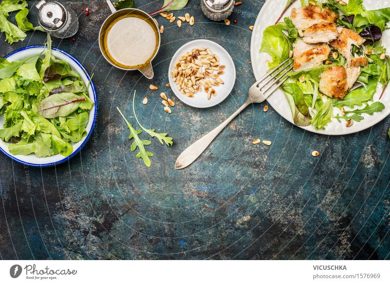 Green salad with chicken, fork and dressing Food Meat Vegetable Lettuce Salad Herbs and spices Cooking oil Nutrition Lunch Dinner Buffet Brunch Organic produce