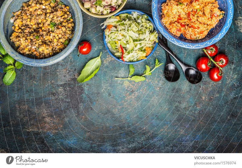 Healthy Eating Life Food photograph Style Food Party Design Nutrition Table Herbs and spices Vegetable Grain Organic produce Restaurant Plate Vintage