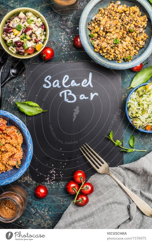 Healthy Eating Dish Style Food Design Signs and labeling Nutrition Herbs and spices Vegetable Grain Organic produce Restaurant Bar Blackboard Plate