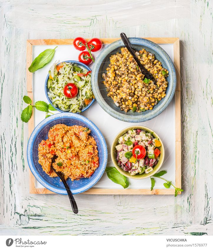 Selection of healthy salads in bowl Food Vegetable Grain Herbs and spices Cooking oil Nutrition Lunch Dinner Buffet Brunch Banquet Organic produce