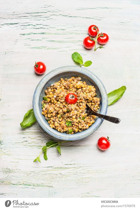 Healthy lentil salad with tomatoes Food Grain Herbs and spices Nutrition Lunch Dinner Banquet Picnic Organic produce Vegetarian diet Diet Bowl Spoon Style