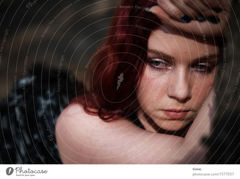 . Feminine 1 Human being Angel dress Red-haired Long-haired Observe Think Looking Dream Sadness Wait Beautiful Concern Fatigue Pain Longing Homesickness