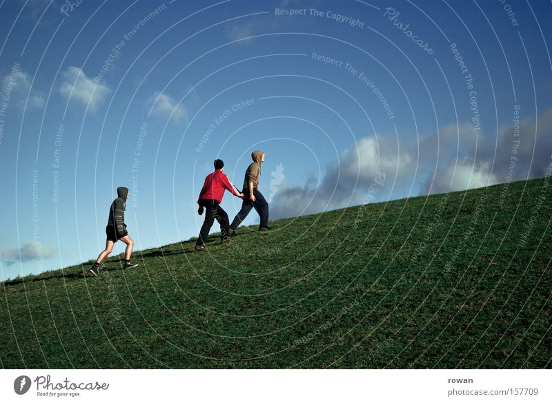 Man Youth (Young adults) Meadow Grass Mountain Group Human being Hiking Going Tall Upward Ascending Go up Incline Leader
