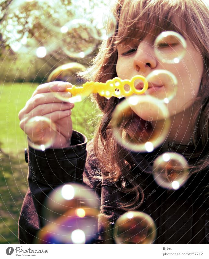 Woman Child Youth (Young adults) Beautiful Girl Summer Joy Face Playing Happy Spring Blonde Happiness Soap bubble Human being Bubble