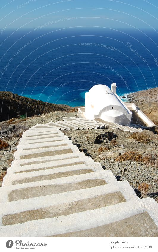 Stairs to the sea Vacation & Travel Summer Summer vacation Ocean Island Olymbos Church Freedom Colour photo Exterior shot Deserted Copy Space top Day Wide angle
