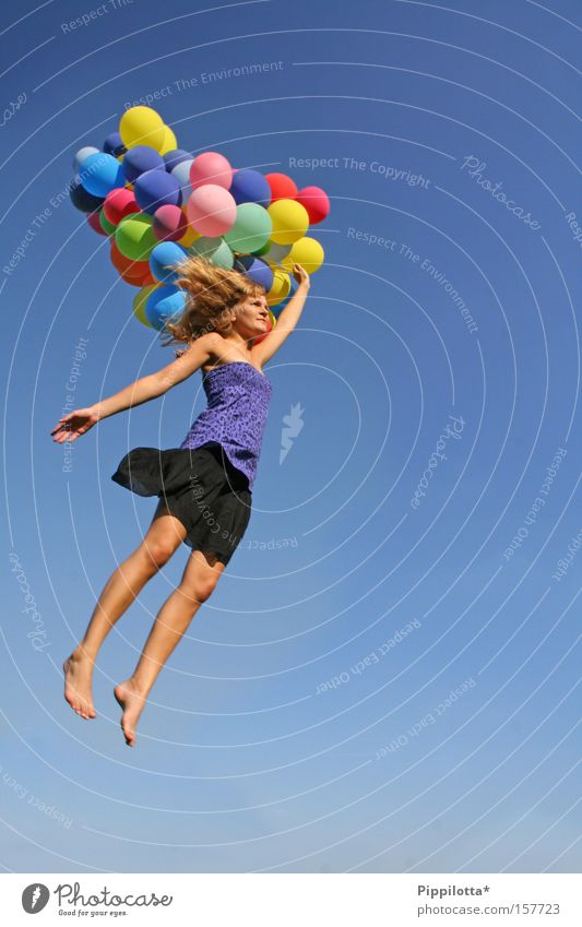 Sky Summer Joy Multicoloured Flying Success Free Happiness Balloon Human being Seasons Impossible