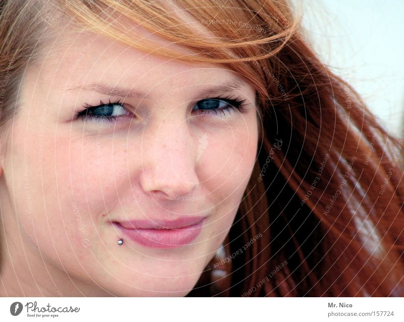 Shining Star Piercing Face Skin Lips Enchanting Beautiful Laughter Complexion Red-haired Woman Joy Eyes blue eyes Nature