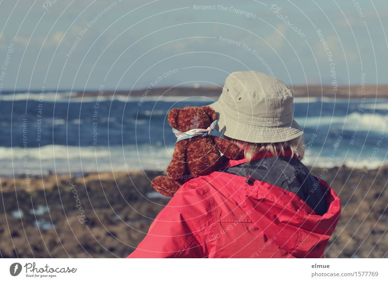 Woman Nature Vacation & Travel Ocean Relaxation Joy Far-off places Adults Coast Happy Together Friendship Rock Waves Sit Wind