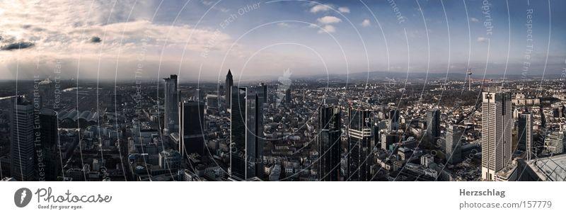 Sky Blue City Clouds Far-off places Air Room High-rise Aviation Vantage point Skyline Frankfurt Location Germany