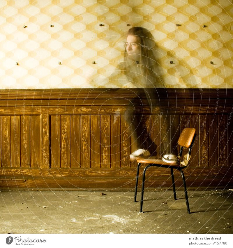 BEAM MICH ... Man Vanished Transparent Ghostly Speed Chair Wall (building) Woodworking joints Old Shabby Radiation Teleportation Futurism Wallpaper pattern